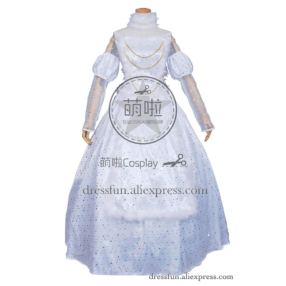 Alice In Wonderland Cosplay The White Queen Dress Costume Formal Dress Beautiful Full Set Fast Shipping Halloween