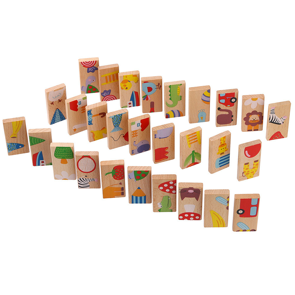 Domino Game Domino 28Pcs/Set Animal Domino Puzzles Toys Wooden Puzzles Domino Blcoks Kids Baby Juguetes Wooden Blocks Hot #06