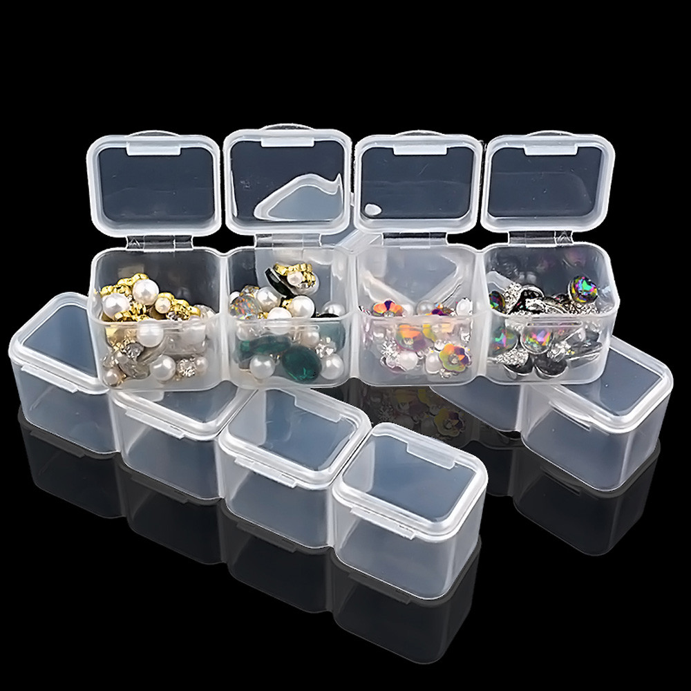 Nail Art Organizer: 28 Slots Clear Plastic Empty Storage Box Nail Art
