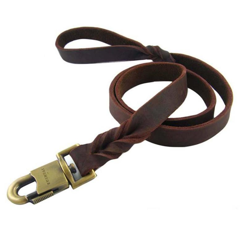 150 CM Leather Braided Harness Lead Leash Traction Rope Dog Safety Rope Chain for Puppy Dog Pet #45 ...