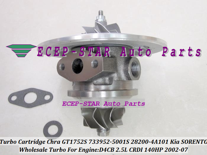 Turbo Cartridge CHRA GT1752S 733952 733952-5001S 733952-0001 28200-4A101 28201-4A101 Turbocharger For KIA SORENTO D4CB 2.5L CRDI turbo rebuild repair kit bv43 53039880122 53039880144 53039700144 28200 4a470 282004a470 for kia sorento 2001 06 d4cb 2 5l crdi