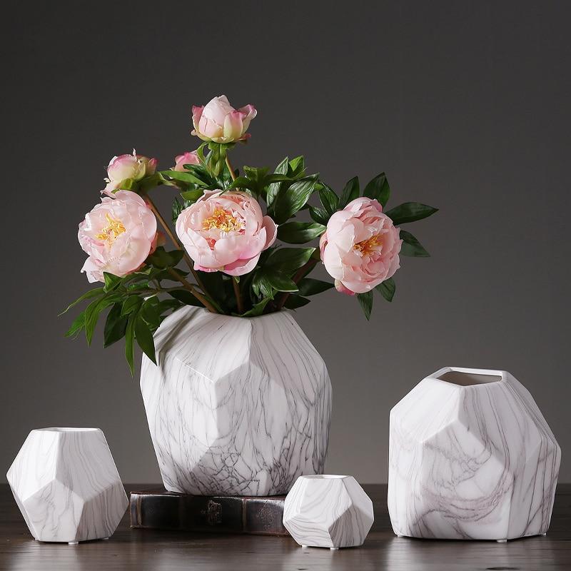 Marbling ceramic vase furnishing Modern Geometric flower vase home decor crafts tabletop flowerpot vase for wedding decoration
