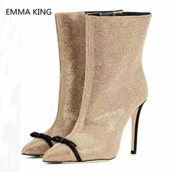 Glitter bling Women Winter Ankle Boots Pointed Toe Bow-Knot Elegant Ladies Shoes Party High Heel Autumn Runway Woman Martin Boot