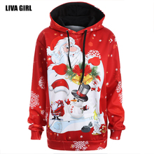 Фотография Liva girl Digital Printing Christmas Hoodies 2017Autumn New Fashion Loose Sweatershirt