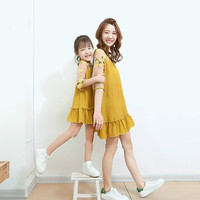 Family Summer Dresses Mother Daughter Matching Clothes Patchwork Embroidery Flowers Casual Clothing For Female Princess Yellow