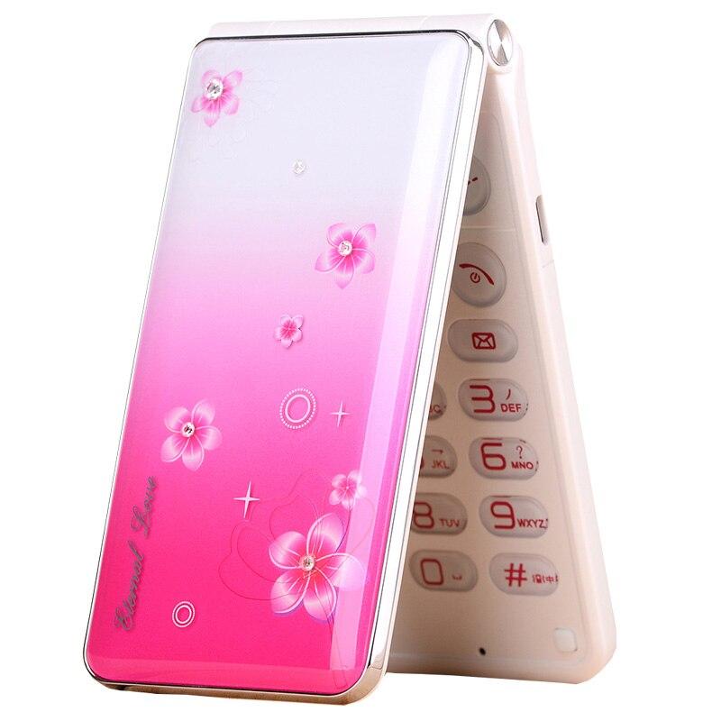 Flip Vitesse Cadran Tactile Écran LED Flash light Pink Lady Fille De Rechange Moblie Téléphone P245