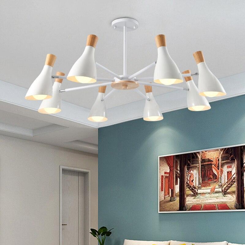 купить Macaron Nordic Chandelier Lighting Wood LED Chandeliers 3/6/8 Lights Color Optional For Living Room Bedroom Hanging Lighting онлайн