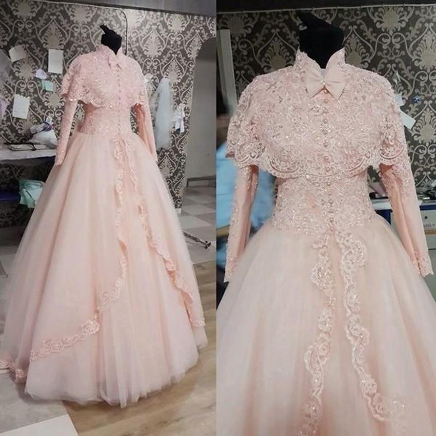 Abendkleider Elegant Muslim Pink Long Sleeves High Neck Bridal Gown Lace Appliques Vestido De Noiva Mother Of The Bride Dresses