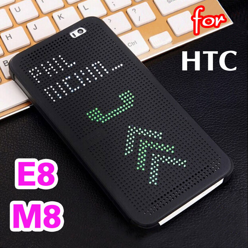 For HTC One M8 E8 Slim Dot Smart Auto Sleep View Phone Cases Silicone Bag Original Flip Cover Shockproof Case For HTC M8 M8s E8