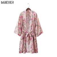 NIBESSER Fashion Vintage Floral Kimono Blouse Women Summer Printed Open Stitch Shirts Ladies Casual Loose Sashes