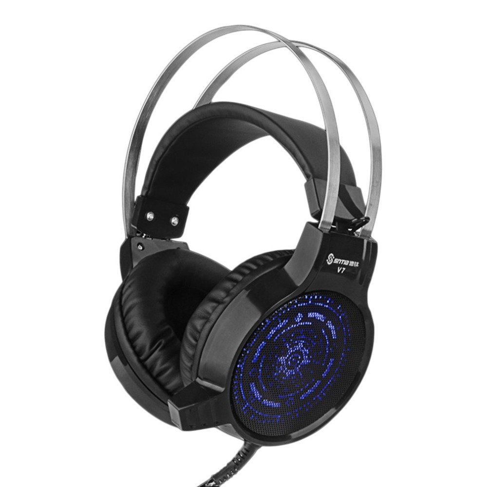 Professional Computer PC Colorful Gaming Headphones V7 Deep Bass Gaming Gamer Headphone Headset With Microphone each g8200 gaming headphone 7 1 surround usb vibration game headset headband earphone with mic led light for fone pc gamer ps4