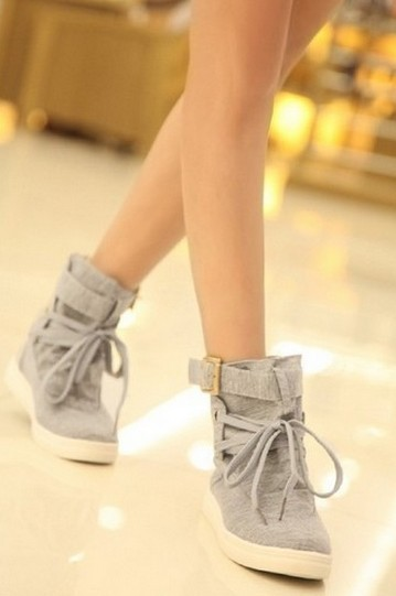 Fashion Womens Flat Lace-Up High Top Shoes Casual Ankle Boots Canvas  -  Online Store 365 store