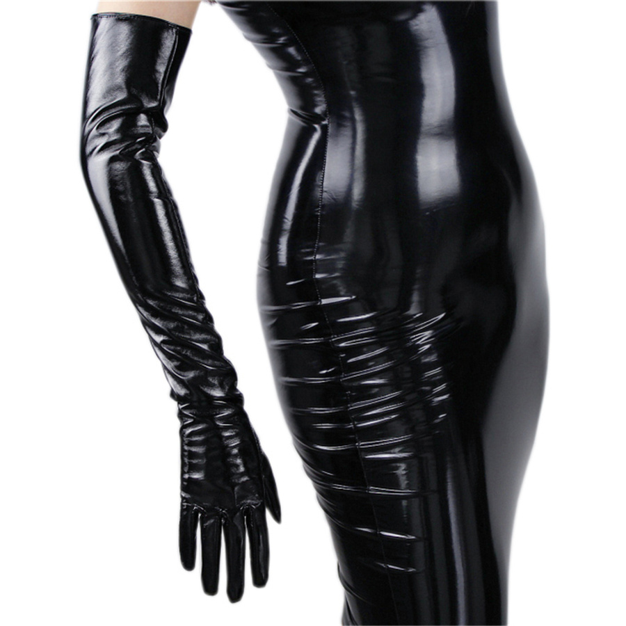 Fashionable Women's Long Leather Gloves 70cm Long Over Elbow Simulation Leather PU Seiko No Lining Black TB16