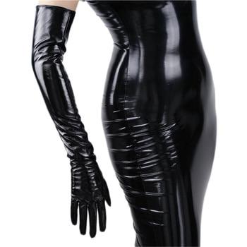 Modieuze vrouwen Lange Leren Handschoenen 70 cm Lange Over Elleboog Simulatie Lederen PU Seiko Geen Voering Zwart TB16