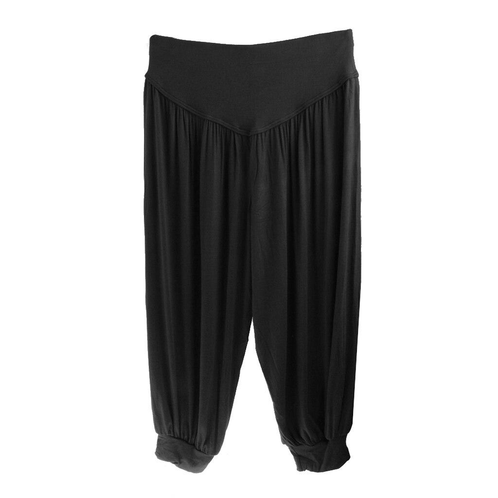 Womens Harem Cropped Baggy Yoga Pants Modal Ali Baba Trousers Black XL