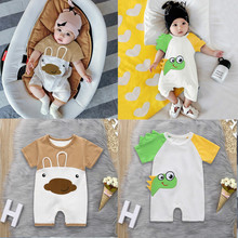 2019 Cute Newborn Infant Baby Boy Girl Cartoon Romper Jumpsuit Playsuit Short Sleeve Cotton Casual Toddler Baby Clothes Summer недорого