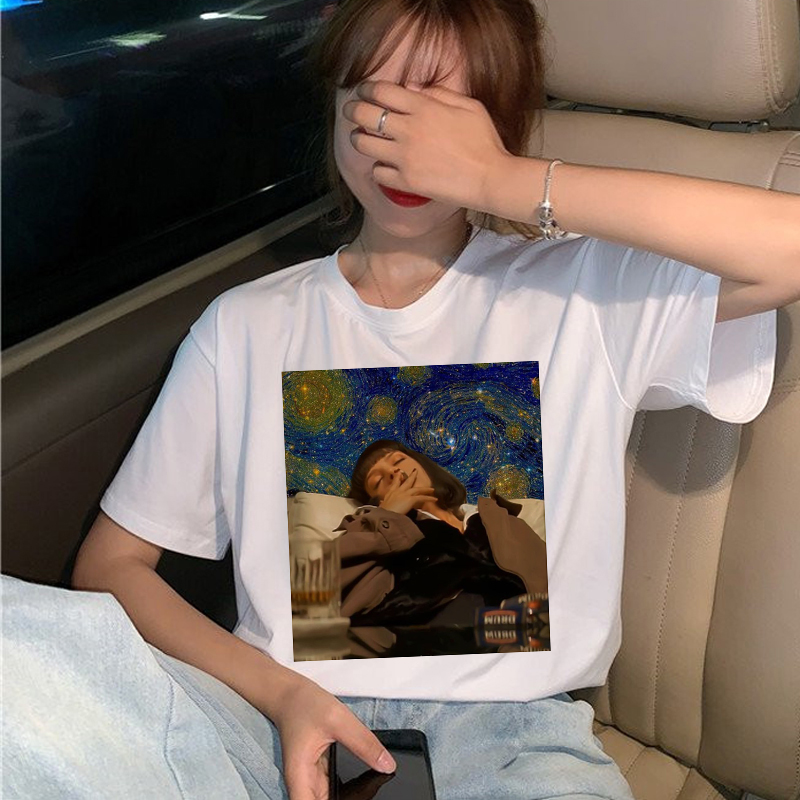 New Pulp Fiction Movie T Shirt Women Harajuku Ullzang 90s Korean T-shirt Aesthetic Funny Print Tshirt Graphic Top Tees Female 3