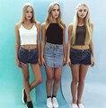 Женские летние Шорты стиль Американской моды Кисточкой Среднего Талии Стрейч Джинсовые Шорты Повседневная Одежда джинсы Плюс Размер