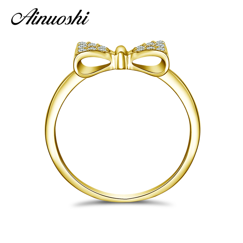 AINUOSHI 14K Solid Yellow Gold Bow Ring SONA Simulated Diamond Bowknot Shape Jewelry Women Wedding Engagement Cluster Rings Gift