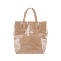 Kraft Paper Bag Letter Print Transparent Shoulder Bag Women Simple Waterproof Handbag Clear PVC Summer Beach Handbags Bolsos