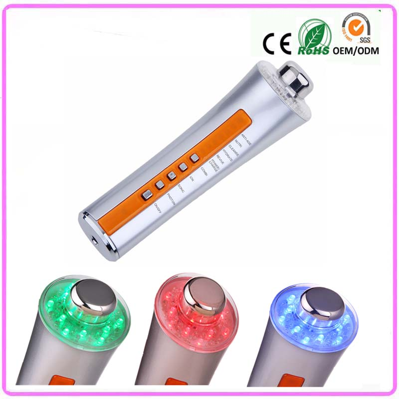 Free Shipping 3 Colors Led Photon Light Therapy Galvanic Ion Microcurrent Face Lift Spa Facial Beauty Massager 3MHZ Ultrasound 3mhz ultrasonic facial massager galvanic deep cleaning led light photon care acne removal skin rejuvenation face lift spa beauty