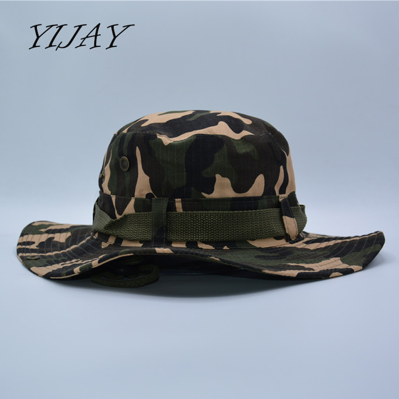 Outdoor sports men   women s fishing hat camouflage bucket hat fisherman  camo ripstop jungle bush hats boonie wide brim sun caps 3d4a7716f