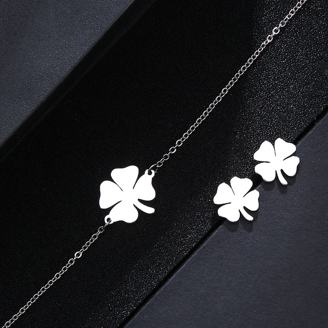 CACANA Stainless Steel Sets For Women Clover Shape Necklace Bracelets Earrings 3