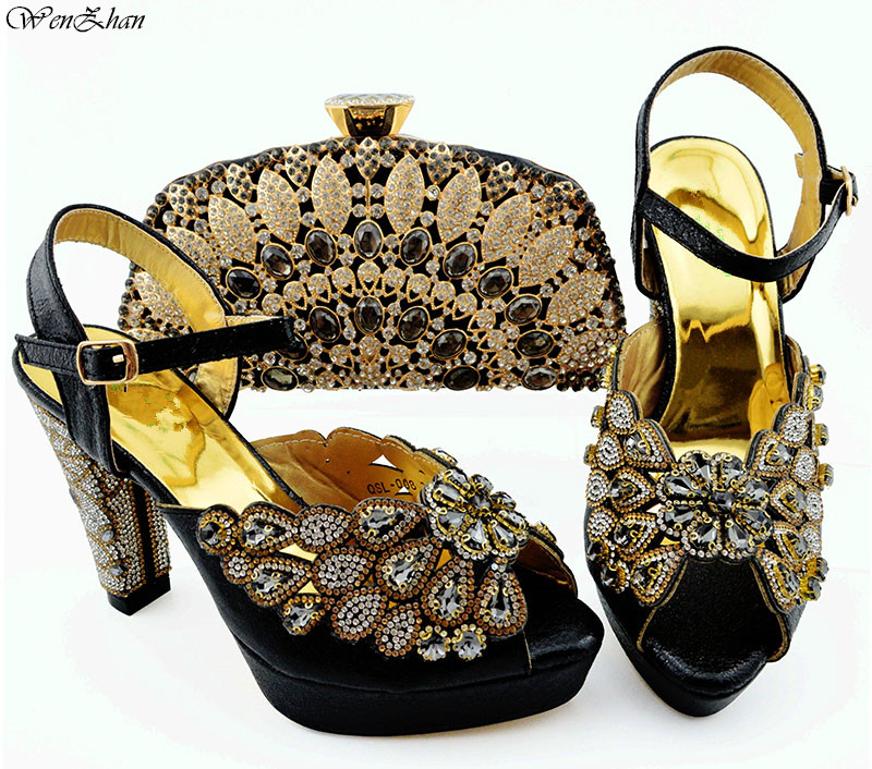 Newest Italian Shoes with Matching Bags Black 2019 African Shoes and Bag Set Decorated with Rhinestone shoes WENZHAN B94 5-in Women's Pumps from Shoes    1
