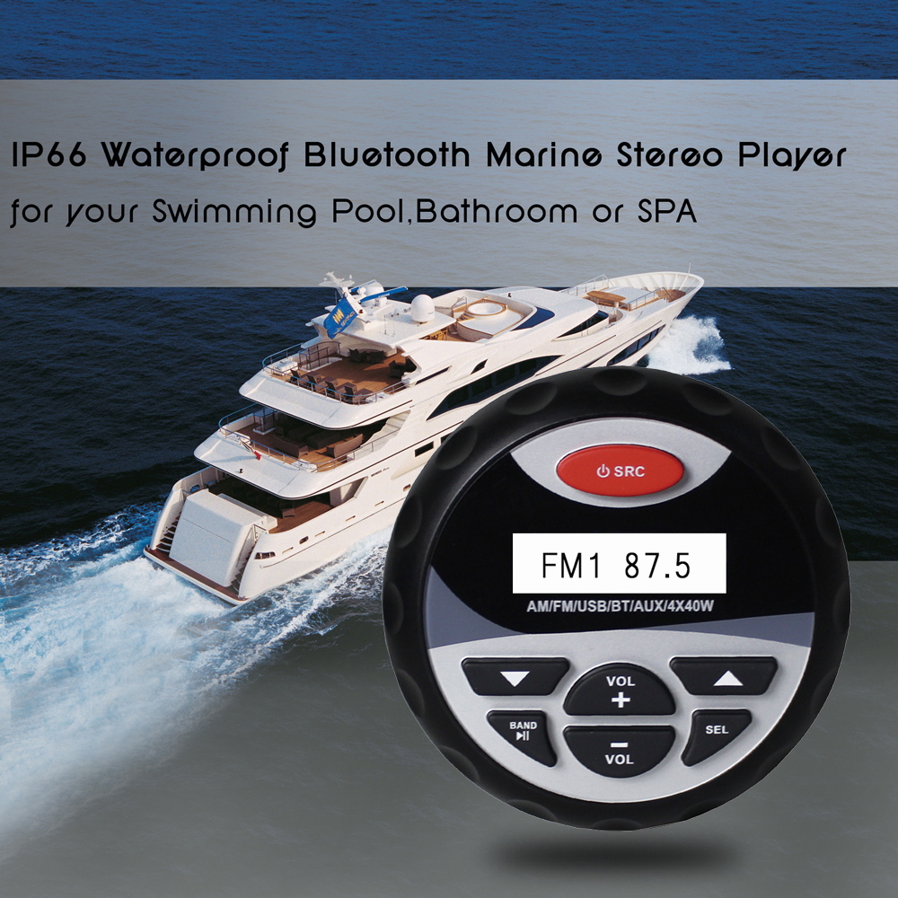 Waterproof Kelautan Bluetooth Audio Stereo Radio Player 1 Pair 4 Qampampq Resin Analog Jam Tangan Wanita Hitam Strap Karet Vq04j010y 6 8