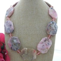 N121106 23 30x40mm Pink Opal Crystal Necklace