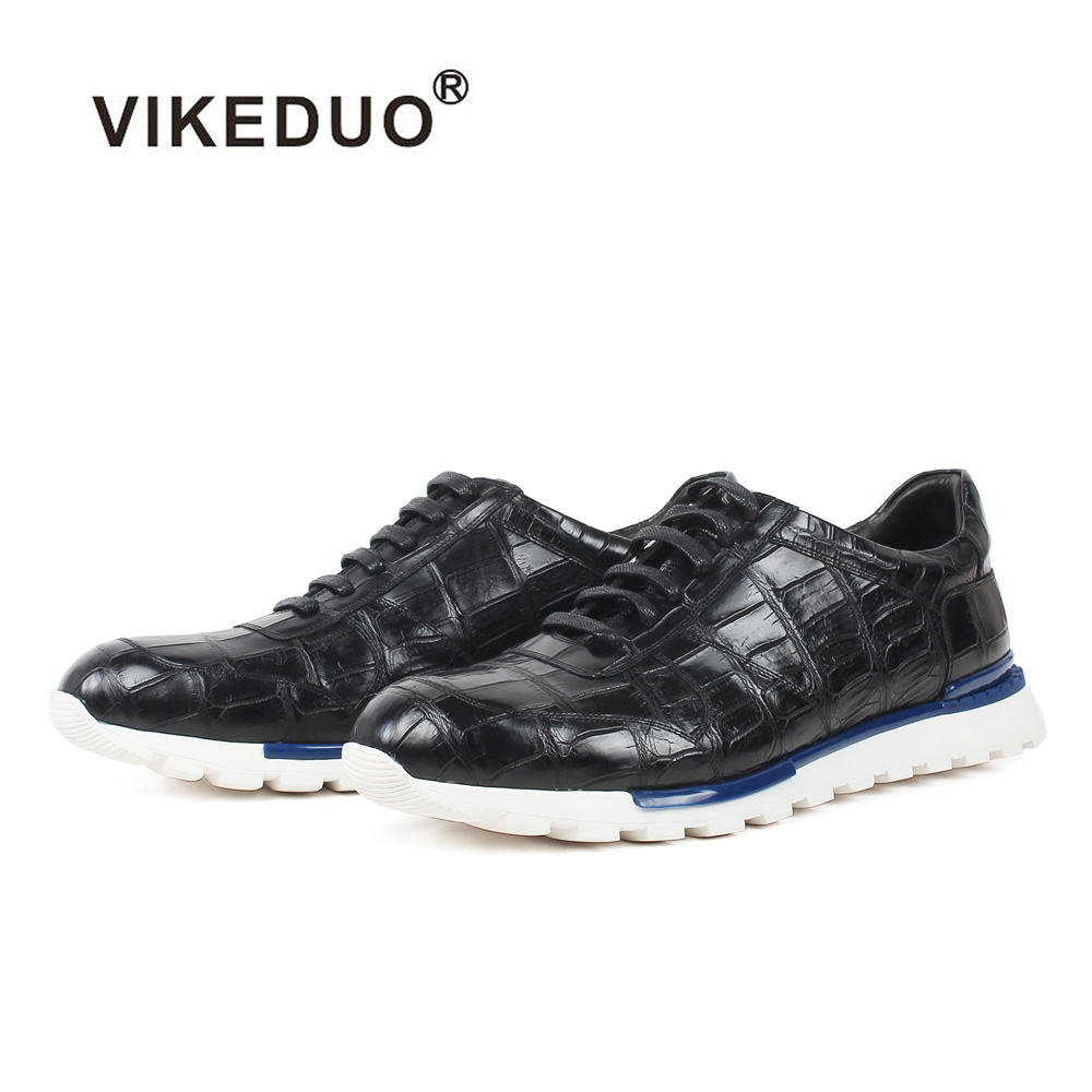 VIKEDUO 100% Genuine Crocodile Skin Sneakers Lace-Up Handmade Black Plaid Footwear Casual Office Wedding Sports Leather Men Shoe loose fit casual thicken plaid lace up wool pants for men