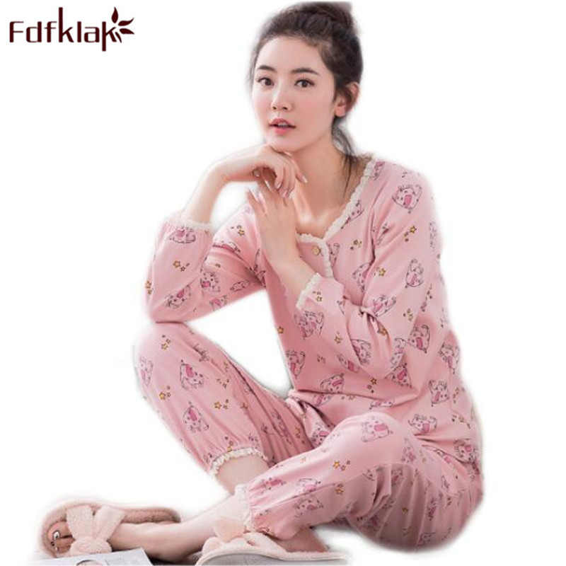 Fdfklak Ladies Sleepwear Spring Autumn Long Sleeve Print Women Pijamas Cotton Pajamas Family Pajamas Plus Size Pyjamas WomenQ605