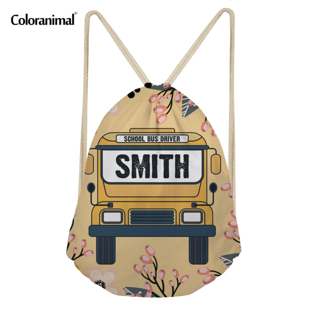 Coloranimal School Bus Print Teenager Girl Travel Mini Drawstring Bag Brand Design String Backpack Shoulder Bag Sack Storage Bag