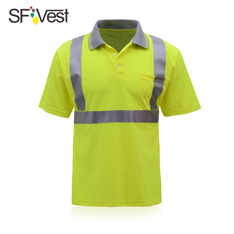 Hi Vis Reflective T-Shirt Safety Work Top Short Sleeve Security Round Collar Men