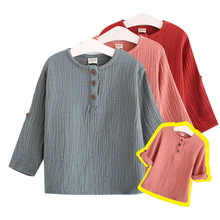 2017 Cotton Linen Summer Long Sleeve T Shirt Baby Boys Kids Casual Clothes Tops Tee Children Clothing Button Spring Fall 3-7Y
