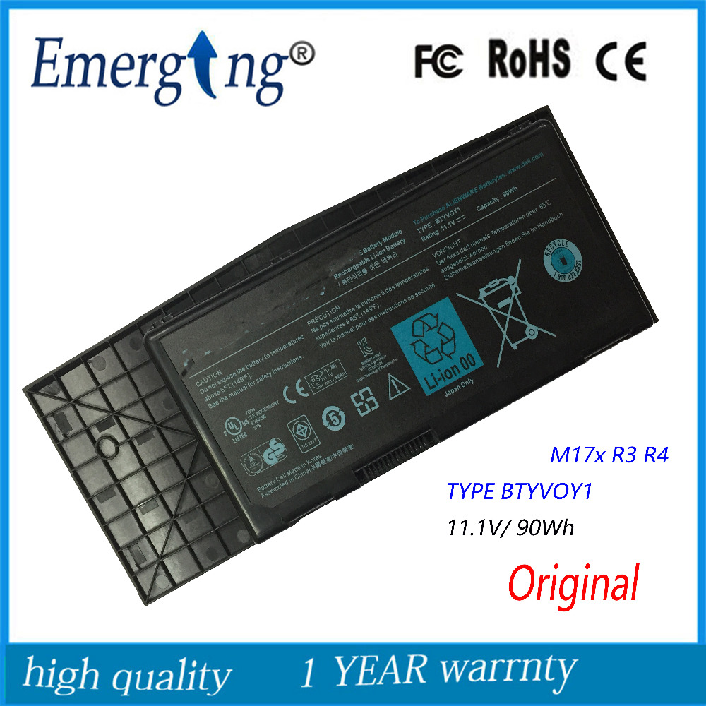11.1V 90Wh New Original Laptop Battery for Dell Alienware M17x R3 R4 TYPE BTYVOY1 C0C5M 318-0397 new and original keyboard win8 for alw m17x r4 m18x r1 dpn 0gmcd3 us