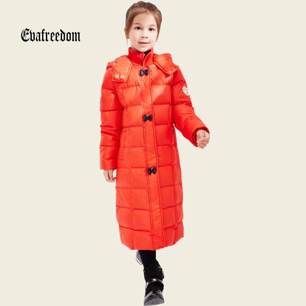 High quality Children Winter Outerwear Baby Girls Down Coats Jacket Long Style Warm Thickening Kids Outdoor