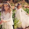 2017 White Lace Princess Communion Dresses for Girls Sheer Long Sleeves Boho Flower Girl Dress for Wedding Beach Pageant Dress