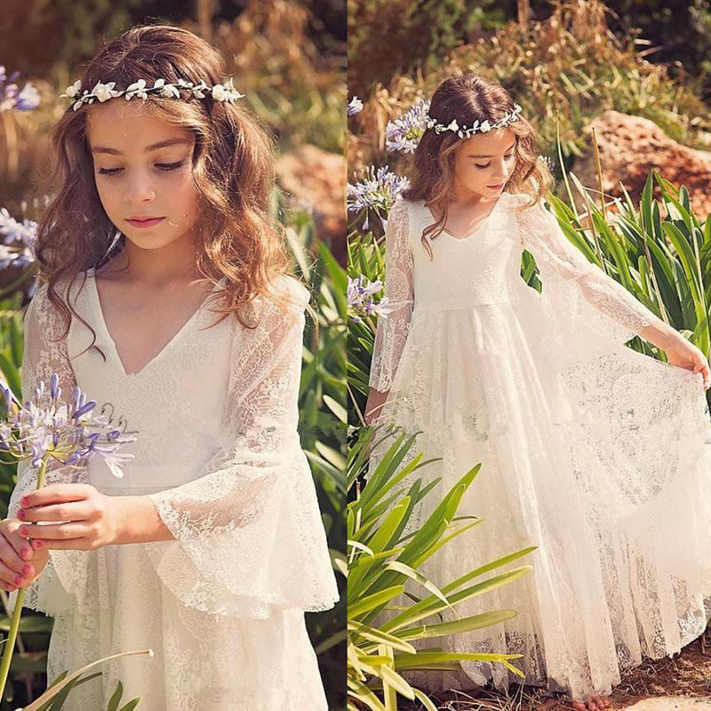 2019 White Lace Princess Communion   Dresses   for   Girls   Sheer Long Sleeves Boho   Flower     Girl     Dress   for Wedding Beach Pageant   Dress