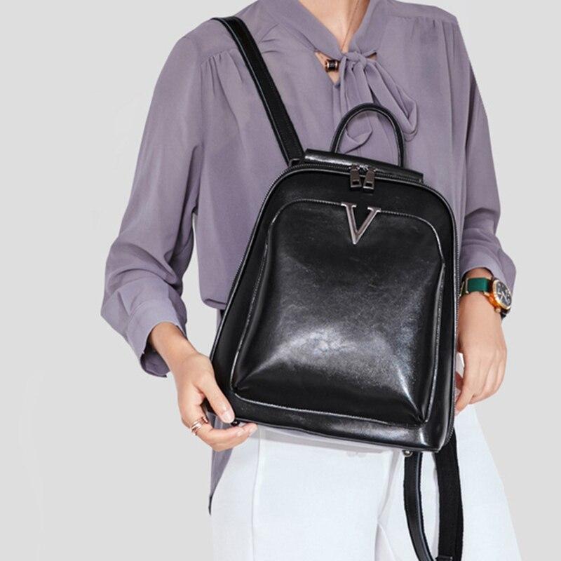 Oil Wax Genuine Leather Women Backpack Cross Body Shoulder Bags Cowhide School Daypack Fashion Retro Female Rucksack Knapsack #2