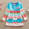 NEAT рождество хлопок девочка одежда Мода вышивка бабочка кружевном платье пачка мультфильм детей платья одежда L65518 #