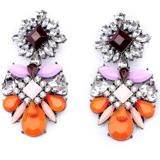 2014 Mode Big Neon Orange Résine Cristal Boucles Doreilles Vintage Bijoux Pour Femmes En Gros Dusine
