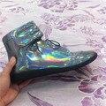 2016 бренд натуральной кожи мужская обувь высокого топ блестящий металлический цвет повседневная обувь большой размер 39-47