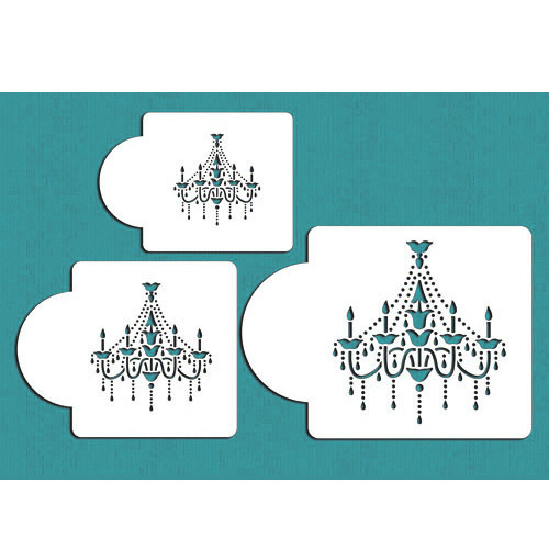Chandelier Cake Stencil Set For Cookies And Cupcake Decoration