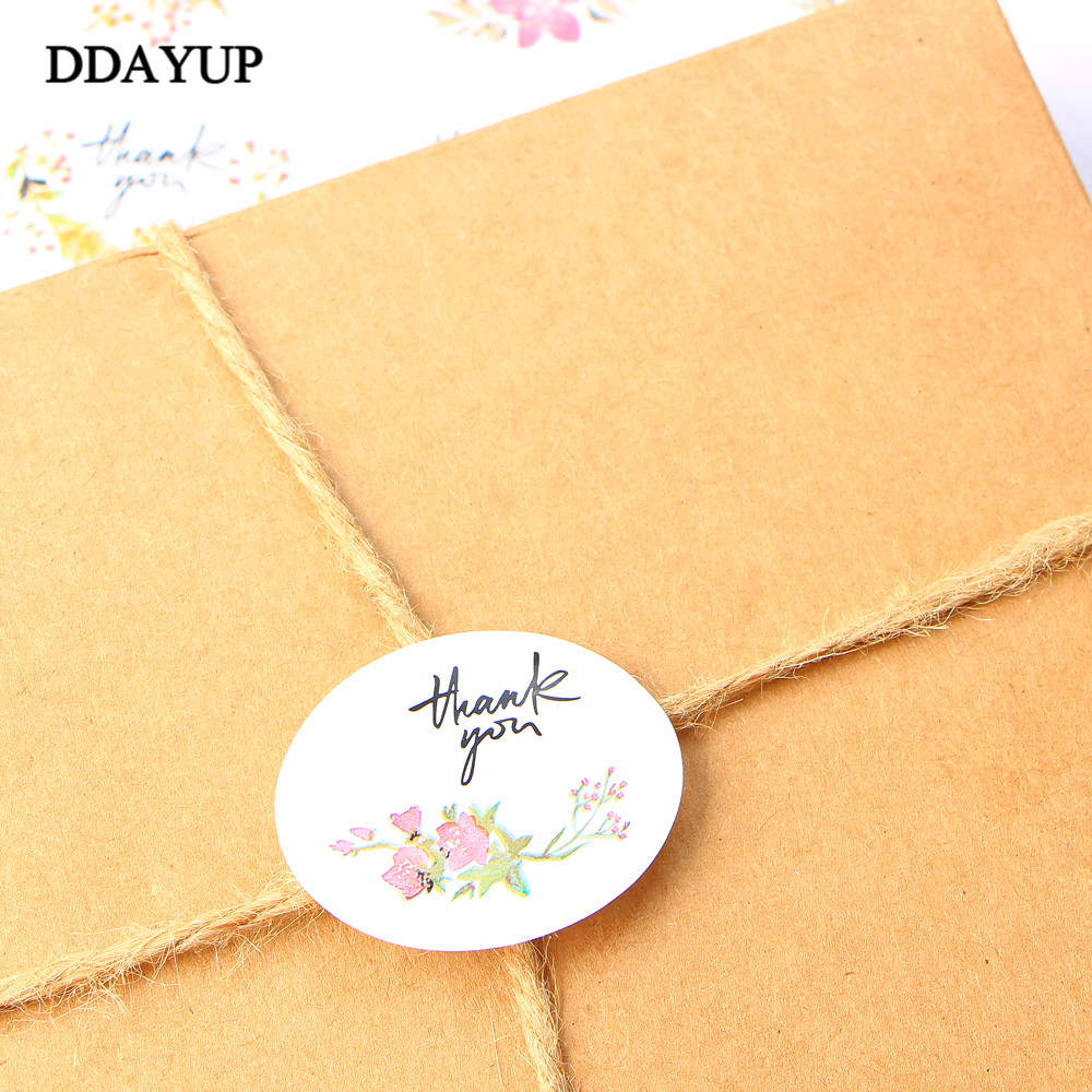 Купить с кэшбэком 120pcs Flower Thank You Ellipse Sealing Label Adhesive Kraft Seal Sticker for Baking Gift Stickers DIY
