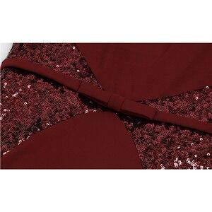Image 5 - Angel fashions Abiti da ballo Sweetheart Gradiente di Paillette Arco di Colore di Contrasto Fiocchi e Fasce Splicing del Vestito Vino Rosso 384