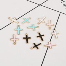 10 pcs/lot Crosses Enamel Charm Simple Jesus Earring Charms Pendant Bracelet Handmade Jewelry Accessory Findings DIY Craft YZ192