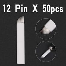 50 шт. Microblading Вышивка крестом иглы 12 шпильки для ручка для микроблейдинга Перманентный макияж бровей татуировки Поставки