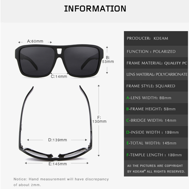 KDEAM Brand Sunglasses Men Sports Eyewear Women Polarized Big Size Sun Glasses UV400 Protection With Hard Case R8697