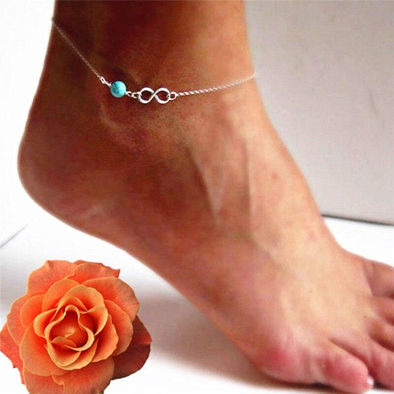 QrhYK Classic Green Stone Beads Ankle Chain Bracelet Female Beach Anklets Bracelet For Women Bohemian Boho Beach Jewelry
